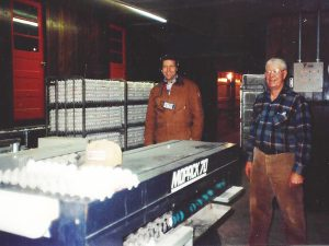 Grandpa DeWeerdt Helping to Pack Eggs 1991
